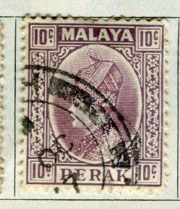 MALAYA PERAK; 1935 early Sultan issue fine used 10c. value