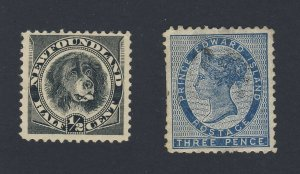 2x Newfoundland/PEI Stamps #58-1/2c Dog MNG VF PEI #6-3P VF Guide Value = $40.00