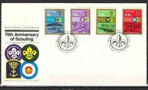 Guernsey, Scott cat. 246-249. Scouting Anniversary issue. First Day Cover. ^