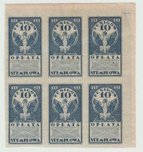 Poland fiscal mix revenue cinderella stamp ml279b imperf block of 6 -gum