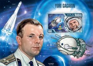Maldives - 2013 Yuri Gagarin - Stamp Souvenir Sheet - 13E-083
