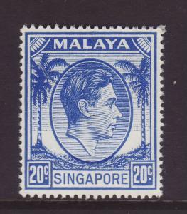 1952 Singapore 20c Perf 17½ x 18 U/Mint SG24a