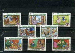 TURKS & CAICOS ISLANDS 1982 DISNEY CHRISTMAS CARDS SET OF 8 STAMPS MNH