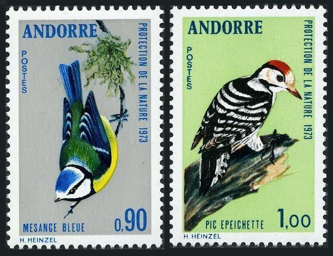 Andorra Fr 230-231,MNH.Michel 253-254. Birds 1973.Bullfinch,Woodpecker.