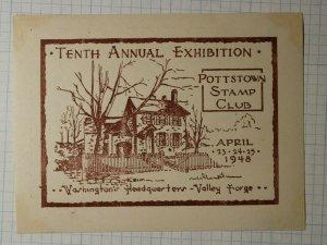 Pottstown Stamp Club Exhibition 1948 Valley Forge Philatelic Souvenir Ad Label