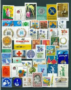 Sweden. Poster Stamp Lot 50 Diff. Commercial,Car,Red Cross,Defense,Health,Assoc.