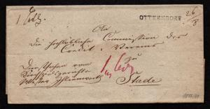 $German Stampless Cover, Otterndorf to Stade