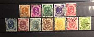 Germany (1951) Post Horn Scott 671-685 Used Not A Complete Set Very Fine
