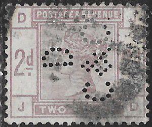 Great Britain 100 Used - Victoria - Perfin