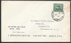 JAMAICA 1948 ½d rate cover to USA ex HALF WAY TREE.........................45810