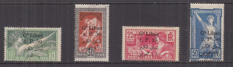 LEBANON, 1924 Gd. Liban & Arabic, Olympic Games set of 4, used, 25c. lhm.