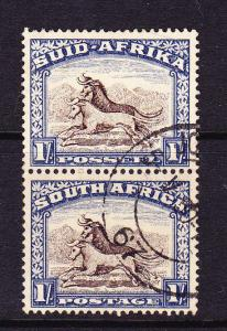 SOUTH AFRICA  1927-30  1/-  PICTORIAL PAIR  FU  SG 36