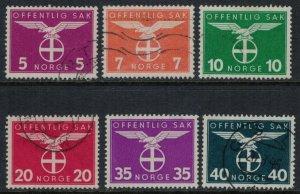 Norway #O44-6,8,51*,52  CV $8.00