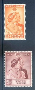 Northern Rhodesia 1948 Silver Wedding SG48/9 Unmounted Mint
