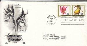 1984, American Orchids-Wild Pink,Yellow Lady's Slipper,Artcraft/PCS, FDC (E8005)