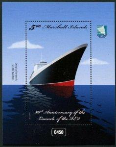 HERRICKSTAMP NEW ISSUES MARSHALL ISLANDS Sc.# 1164 Anniv. QE II Ship S/S