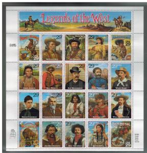 1994 USA Stamp # 2870 Legends of the West Error Sheet Cowboy Bill Pickett  2