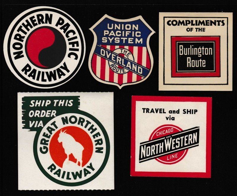 US Vintage 5 RAILROAD Union Pacific,N. Pacific,G. Northern,NW Cinderella Stamps