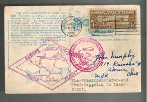1930 USA Graf Zeppelin Postcard cover Around the World to Akron OHio # C14