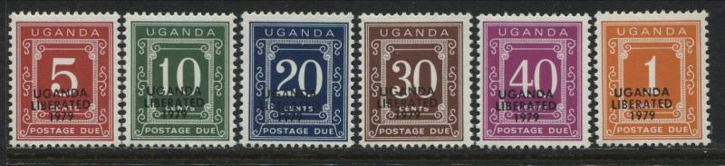 Uganda 1973 5¢ to $1 Postage Dues overprinted Uganda Liberated 1979 mint NH (JD)