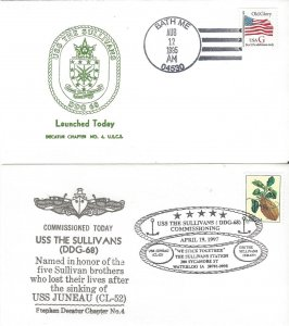 US Naval Cover USS The Sullivans  DDG 68 1995 Launched, 1997 Commissioned
