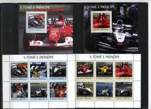 ST.THOMAS & PRINCE ISLANDS 2003  RACING CARS 2 SHEETS OF 6 STAMPS & 2 S/S MNH