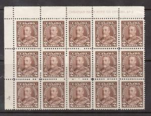 Canada #218i VF/NH Mole On Forehead Top Plate #2 Block Of 15 Variety