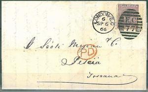 POSTAL HISTORY : GB - cover to PESCIA, TOSCANA , ITALY 1866 - SG 97 plate 6
