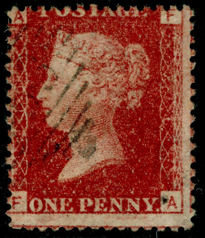 SG44, 1d lake-red plate 216, FINE USED. Cat £23. IRELAND. FA
