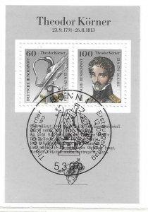 1991    GERMANY  -  SG.  MS 2412  -  THEODOR KORNER  -  USED