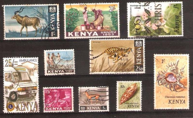 LOT Nr 131 KENYA  BRITISH COLONIES 10 STAMPS OLD AND MODERN
