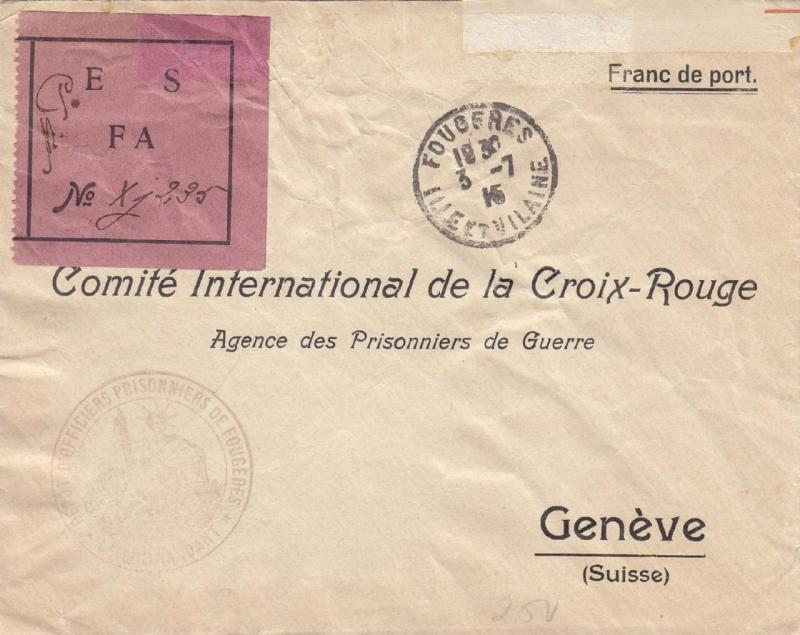 1915, POW Fougeres, France to Red Cross, See Remark (C2131)