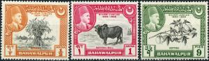 Bahawalpur #23-25 SHORT Set - Low Value Missing MNH
