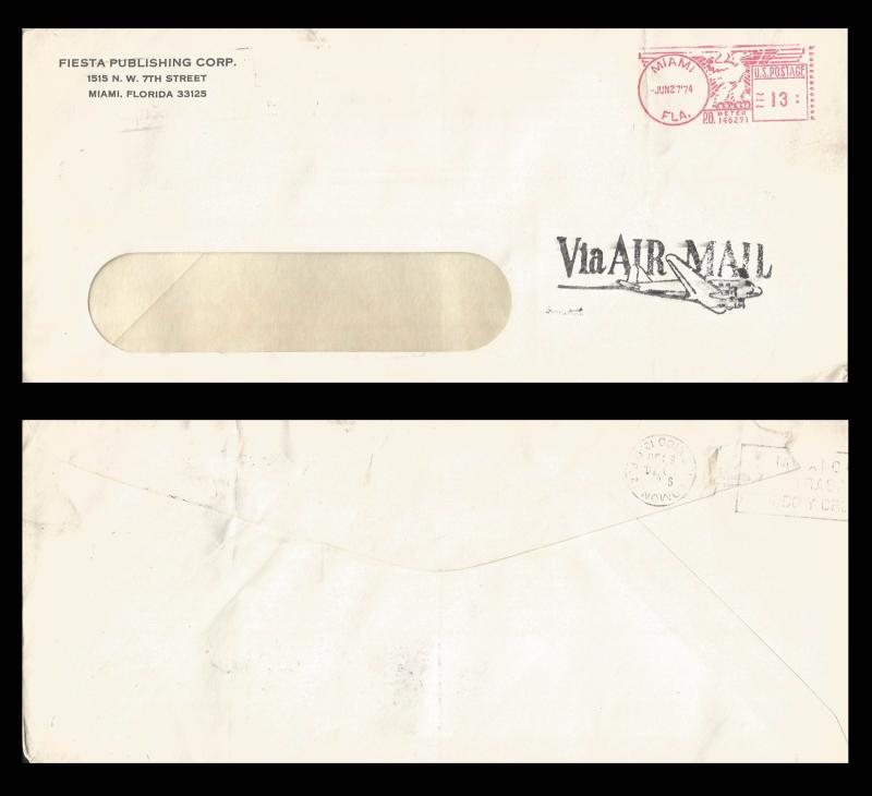 B)1974 USA, EAGLE, FIESTA PUBLISHING CORP, U.S POSTAGE, CIRCULATED COVER FROM US