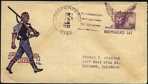 USA 1933 (4 July) Patriotic cover INDEPENDENCE MISS fancy cancel..........19891