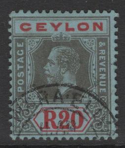 CEYLON SG319 1912 20r BLACK & RED/BLUE FINE USED