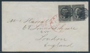 #17 PAIR ON COVER PAID 7/28/1857 TO LONDON RED CV $700.00 BR4495