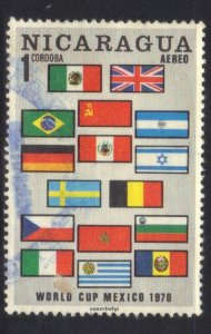 NICARAGUA SC# C714  *USED*  1c 1970 FLAGS  SEE SCAN