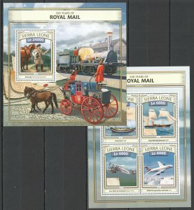 ST456 2016 SIERRA LEONE TRANSPORT 500 YEARS OF ROYAL MAIL KB+BL MNH STAMPS