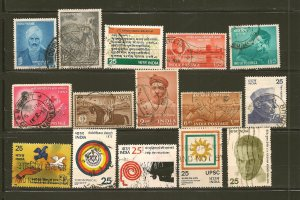 India Collection of 15 Different Old Commemorative Stamps Used