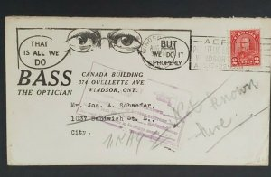 1931 Windsor Canada Returned Address Unknown Illustrated Optician Eye Ad Cover