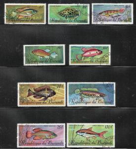 Burundi 1967 Air Post Tropical Fish Scott# C46-C54 Used CTO