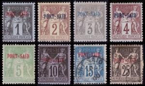 French Offices in Egypt - Port Said Scott 1-7, 9 (1899-1900) Mint/Used F-VF