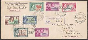 PITCAIRN 1940 GVI values to 6d on registered FDC to New Zealand............55545