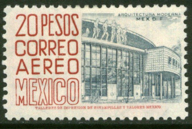 MEXICO C217 $20Pesos 1950 Definitive 2nd Printing wmk 300 HORIZ MINT, NH. VF.