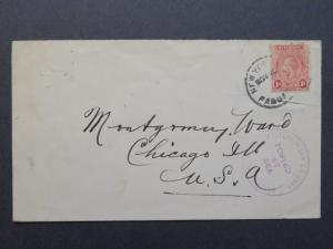 St Vincent Early 1900s Paquebot Cover to NA / NYC Cancel / Posted At Sea - Z7880