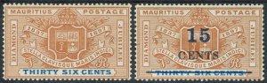 MAURITIUS 1898 ARMS JUBILEE 36C PLUS 1899 15C ON 36C