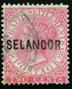Malaya 1884 Selangor opt Straits Settlements QV 2c wide N SG#22 M2189