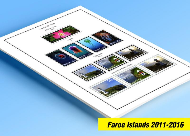 COLOR PRINTED FAROE ISLANDS 2011-2016 STAMP ALBUM PAGES (21 illustrated pages)