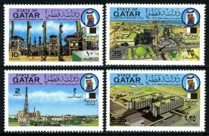 Qatar 579-582,MNH.Independence,9th ann. Oil refinery,Doha,Oil rig,Hospital,1980